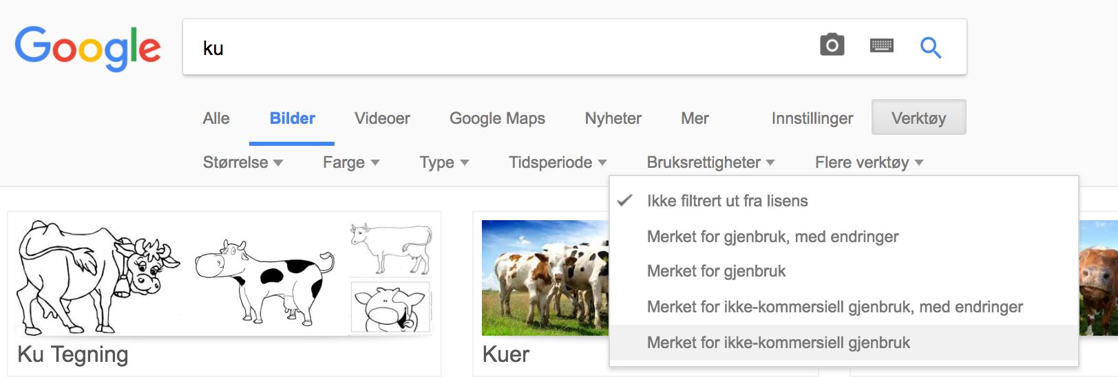 Finn lovlige bilder på Google